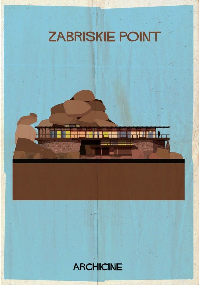 ARCHICINE: Illustrations of Architecture in Film - Federico Babina / Zabriskie Point. Directed by Michelangelo Antonioni