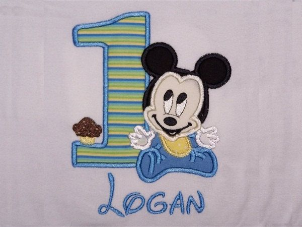 Personalized Custom New Baby Mickey Mouse 1st Birthday Party Shirt or Onesie SHIPS FREE. $26.00, via Etsy.