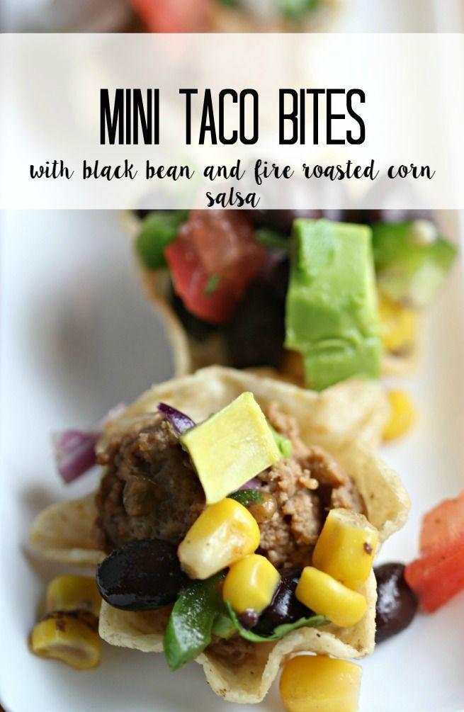 Mini Tacos Bites with Black Bean & Fire Roasted Corn Salsa #MyBestWithBushBeans ad