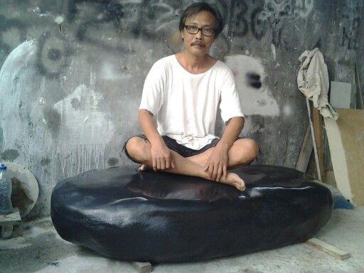 Black oval stone