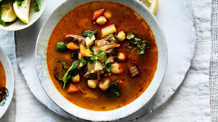 Winter warmer: Spicy lamb and vegetable soup with legumes.