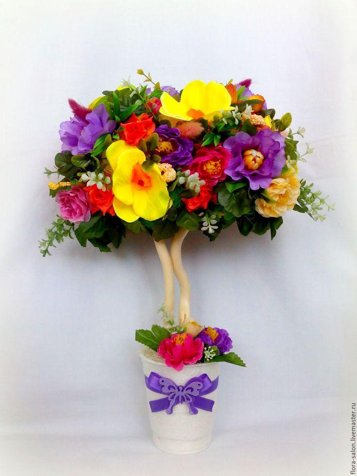 """Купить """"Весна пришла!"""" - топиарий дерево счастья, топиарий ручной работы, топиарий из цветов"""