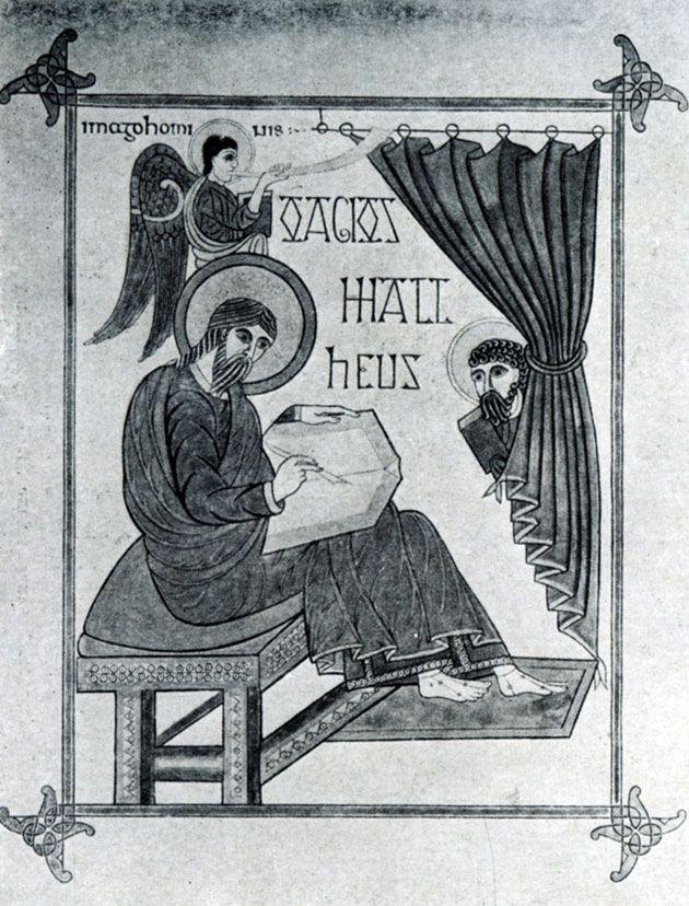 172 а. Евангелист Матфей. Миниатюра Линдисфарнского евангелия. 698 - 721 гг. Лондон, Британский музей.