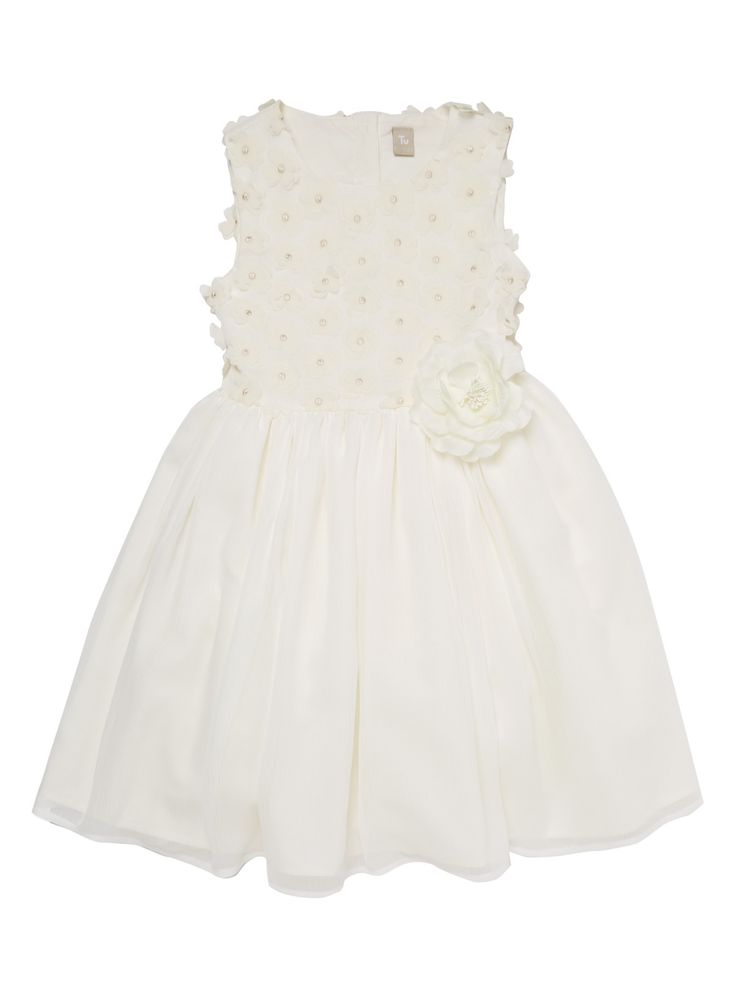 Girls White Georgette Floral Dress (3-12 years)