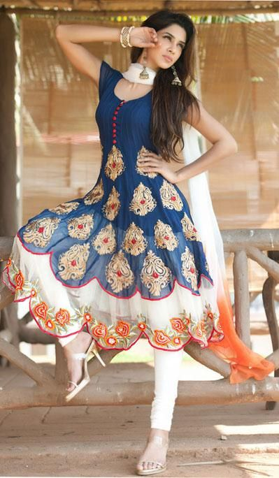 $168.97 Blue Short Sleeve Faux Georgette Long Anarkali Salwar Kameez 21720