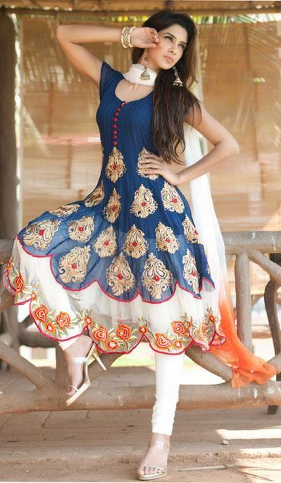 Blue Short Sleeve Faux Georgette Long Anarkali Salwar Kameez 21720