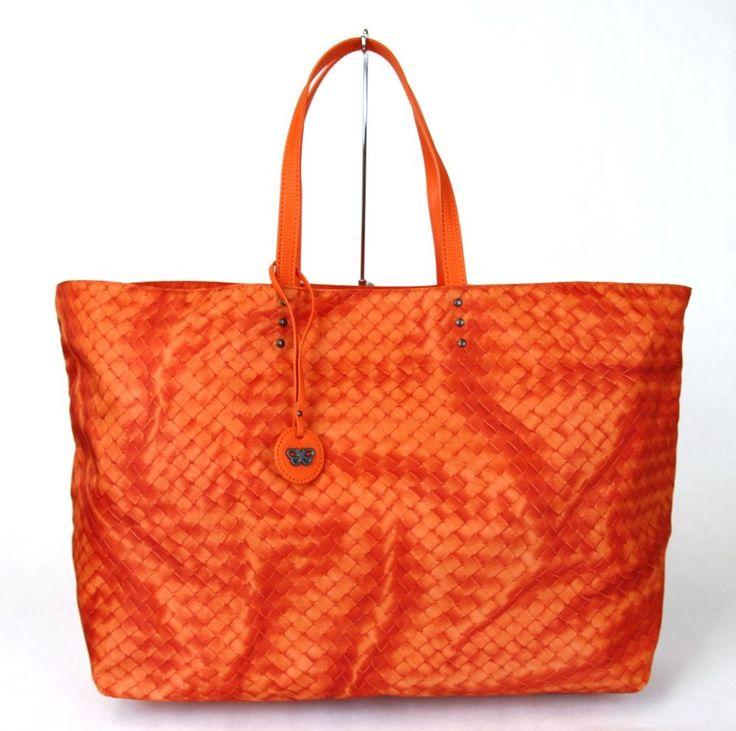 New Authentic BOTTEGA VENETA Intrecciolusion Nylon Tote Bag, Orange, 299876 7508 #BOTTEGAVENETA #ShoulderBag