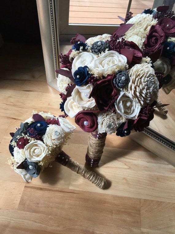 Burgundy wedding bouquet Fall wedding by ScarlettJadeDesigns