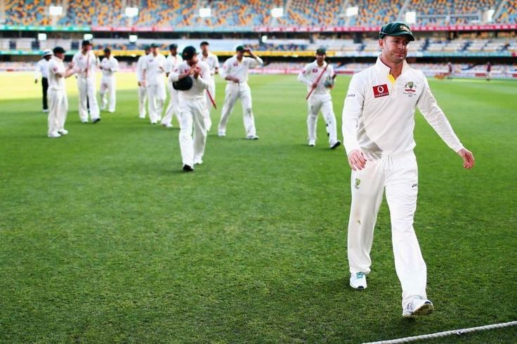Australian cricket captain Michael Clarke leads the team off the Gabba after the first Test against South Africa ended in a draw in Brisbane on November 13, 2012.