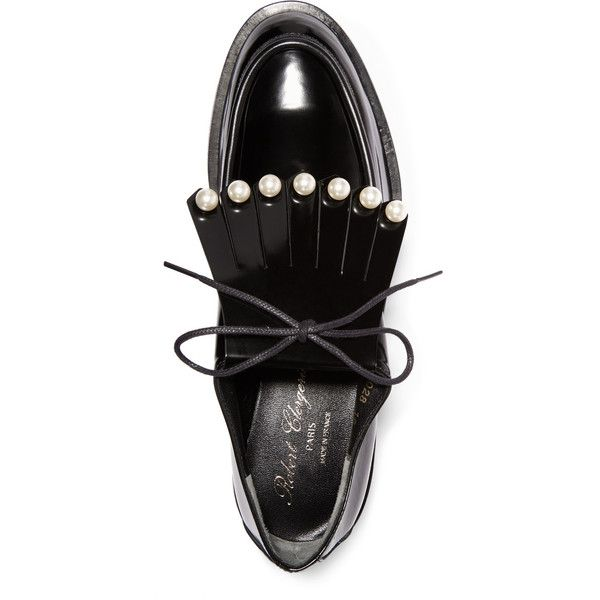 Robert Clergerie Biro faux pearl-embellished leather brogues ($520) ❤ liked on Polyvore featuring shoes, oxfords, black oxfords, brogue shoes, black shoes, black lace up oxfords and black leather shoes