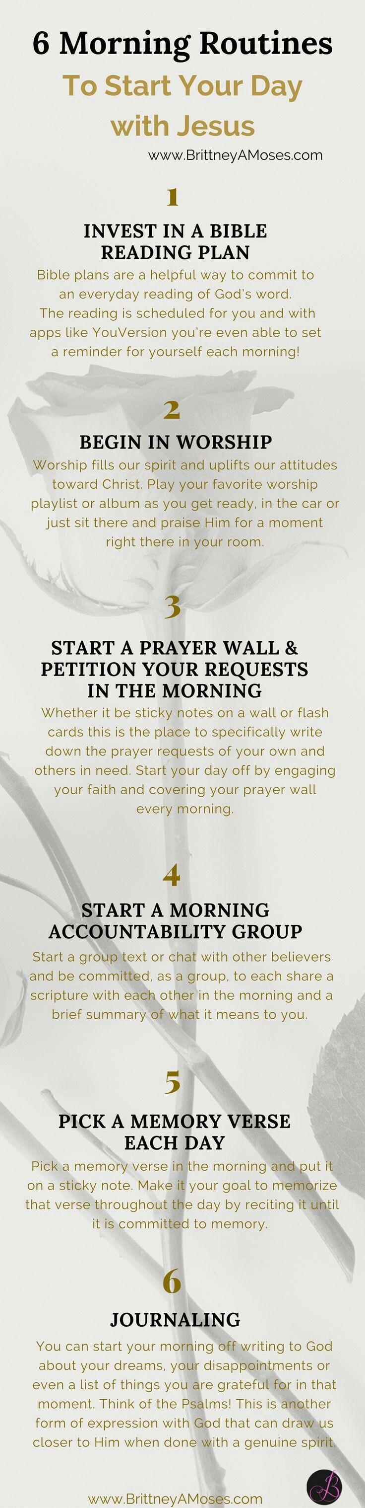 Six morning routine to start your day with jesus. Spiritual morning habits.
