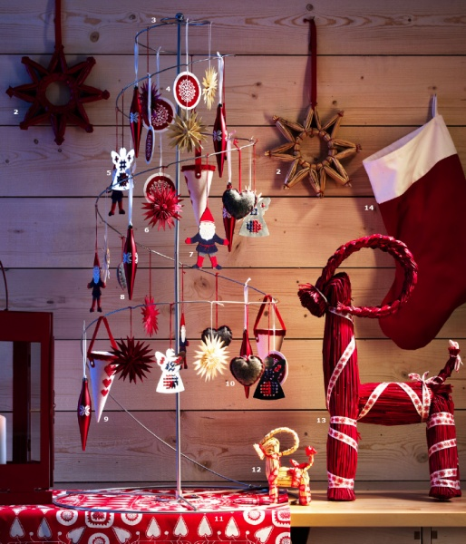 Christmas decorating ideas from Ikea. Love the reindeer off to the side of the tree...