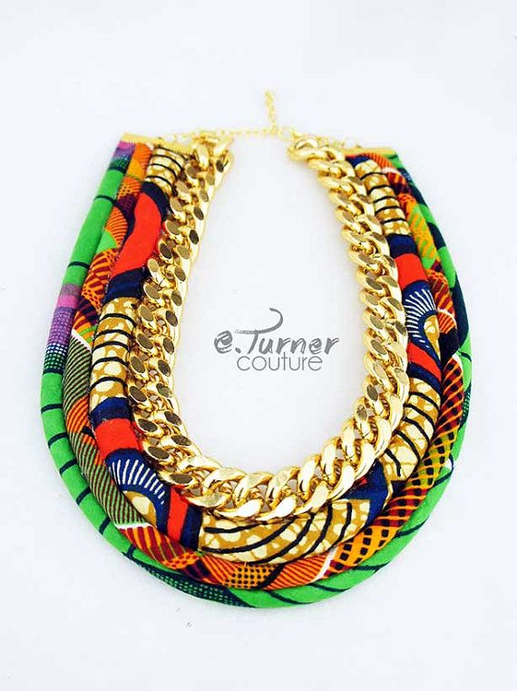 African Fabric and Chain Cord Necklace  Tribal by ETurnerCouture