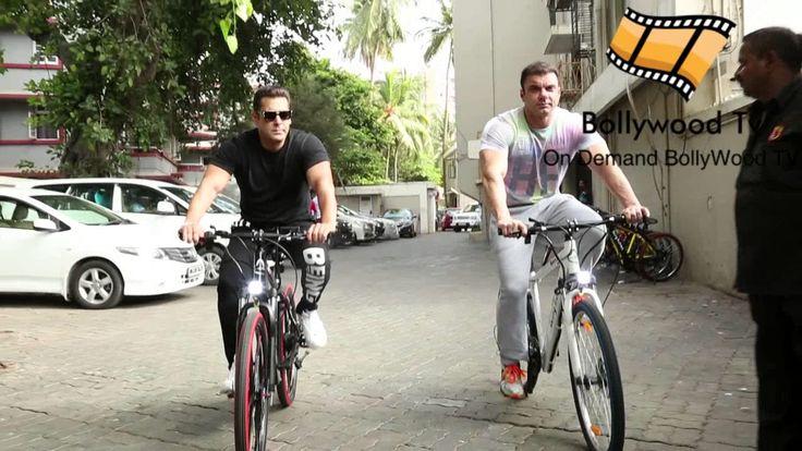 Salman Khan And Sohail Khan Riding Electric Cycle On Bandra Road, Mumbai...