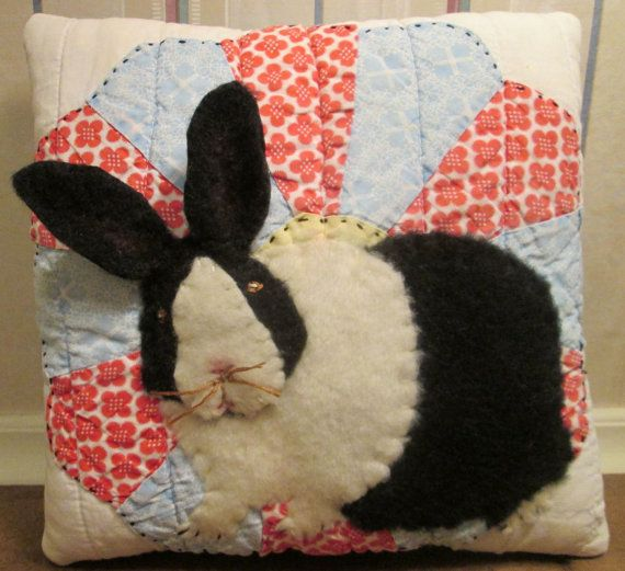 Applique BUNNY PILLOW made from VINTAGE Dresden Plate Quilt - Charming Keepsake Collectible