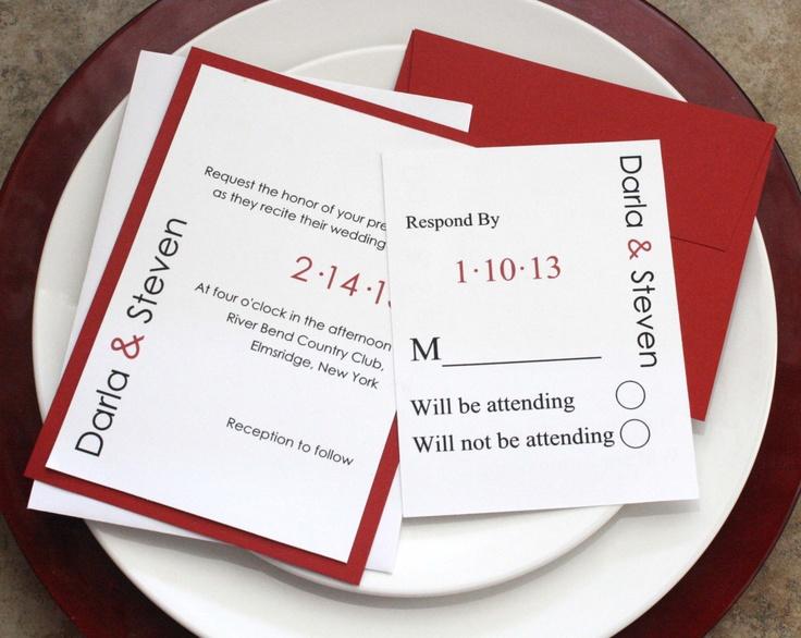 Modern Wording For Wedding Invitations: Modern In Red Wedding Invitations