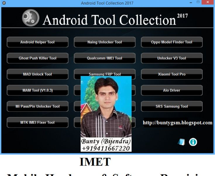 Android Tools Collection 2017 By BuntyGSM IMET Mobile Repairing Institute http://ift.tt/2kTP7jG http://ift.tt/2kxMVPy Android Software Computer Software Mobile Software  Download Android Tools Collection 2017 Android Tools Collection 2017 is a useful application for Gsm Users itincluding Naing Unlocker Tool Android Helper Tool Ghost Push Killer ToolOppo Model Finder Tool Qualcomm IMEI Tool Samsung FRP Tool Unlocker Tool MAD unlock Tool.   Android Tool Collection created/coded by Ko Shan…