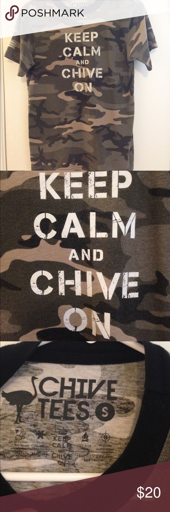 Chive Tee Shirt Camo Chive tee shirt Camo print size small, it is men's but seems more unisex to me....fits smaller. Army Military edition. Keep Calm and Chive on! Some normal fading. Chive Shirts Tees - Short Sleeve