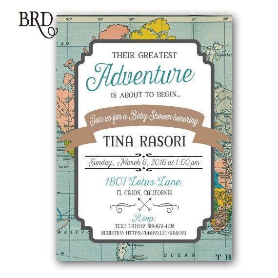World Traveler Baby Shower Invitation Baby by BradfordRoadDesigns