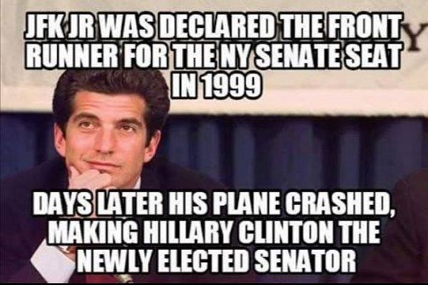 John F. Kennedy Jr. was not a candidate in New York's U.S. Senate race before dying in a July 1999 plane crash, clearing the way for Hillary Clinton to win the seat.