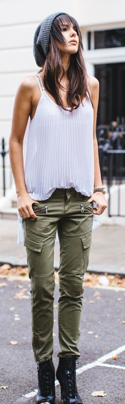 army green cargoes with a delicate feminine top