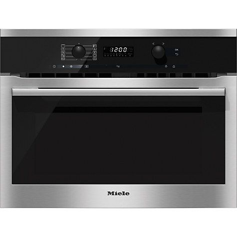 Buy Miele H6100BM ContourLine Single Electric Oven with Microwave, Clean Steel Online at johnlewis.com