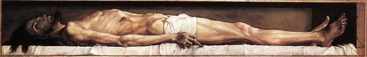 The Body of the Dead Christ in the Tomb, 1521 by Hans Holbein the Younger. Northern Renaissance. religious painting