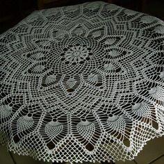 """Centre de table uni """"ronde des ananas"""" en coton fait main au crochet"""