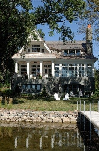 waterfront house: Lakes House, House Design, Dreams Home, Window, Lakes Home, Dreams House, Traditional Exterior, Cottages Design, Beaches Style