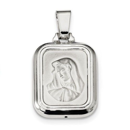Sterling Silver Satin and Polished Mary w/Hail Mary Prayer Pendant