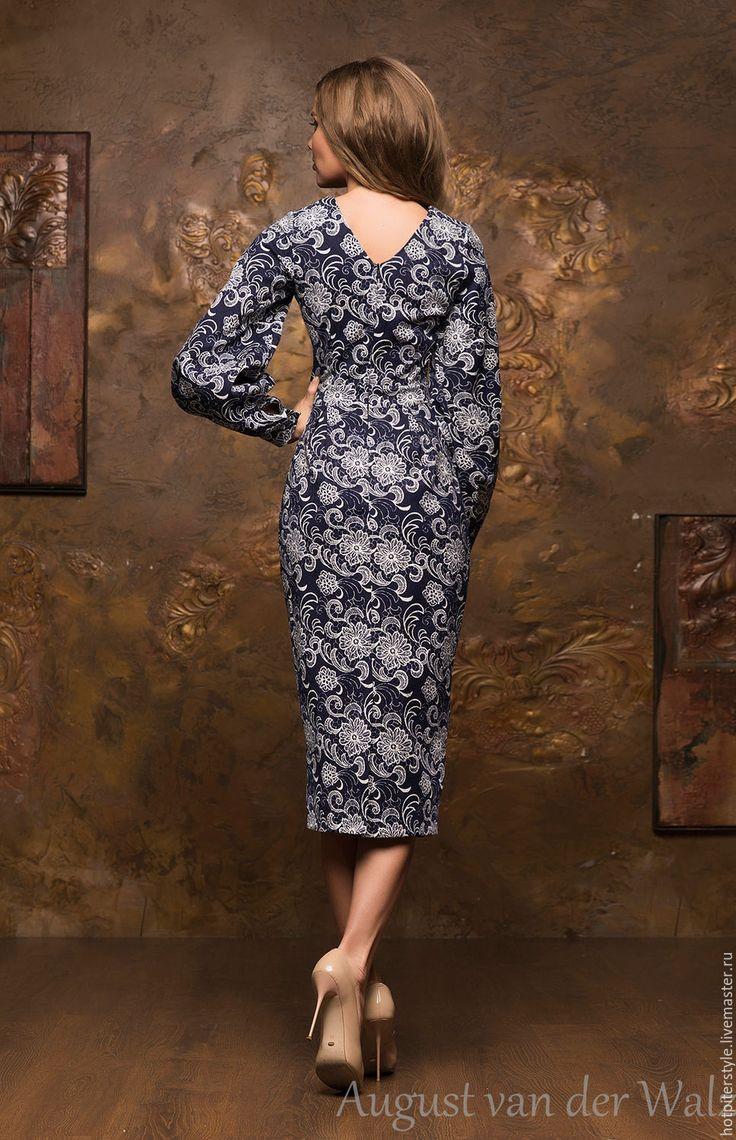 Купить Шикарное миди из жаккарда - разноцветный, однотонный, деловое платье, силуэт, Коктейльное платье