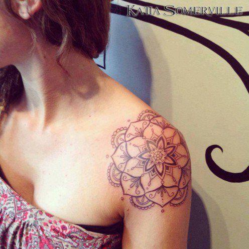 Girl shoulder tattoo