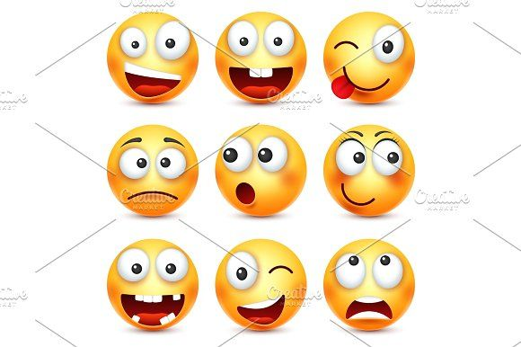 Smiley,smiling angry,sad,happy emoticon. Yellow face with emotions. Facial expression. 3d realistic emoji. Funny cartoon character.Mood. Web icon. Vector illustration. Graphics Smiley with glasses,smiling angry,sad,happy emoticon. Yellow face with emotions. Facial expression by 32pixels
