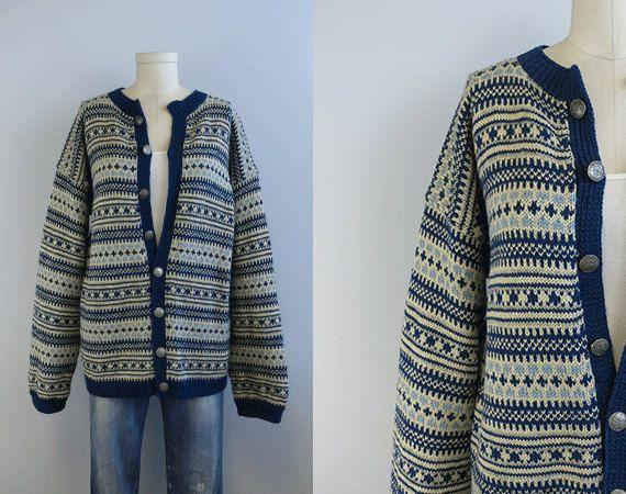 Vintage Nordic Wool Fair Isle Cardigan / Hand Knit by zestvintage, $78.00