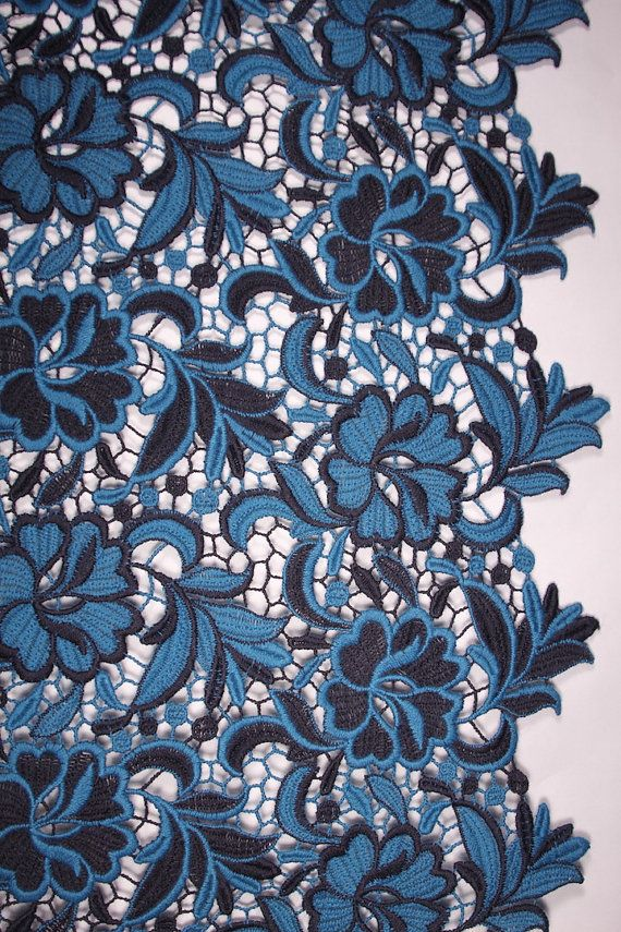 Blue Two-Coloured Lace  Fine Wool Designer Fabric
