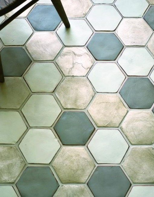Sekskantede væg- gulvfliser ensfarvede elelr med mønster