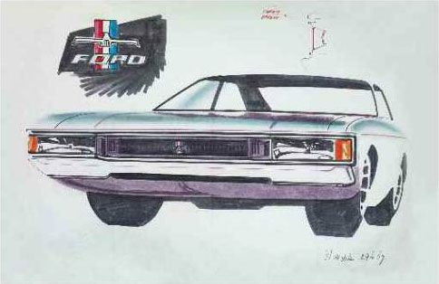 OG | 1972 Ford Granada / Consul Sedan Mk1 | Design sketch dated Apr. 1969