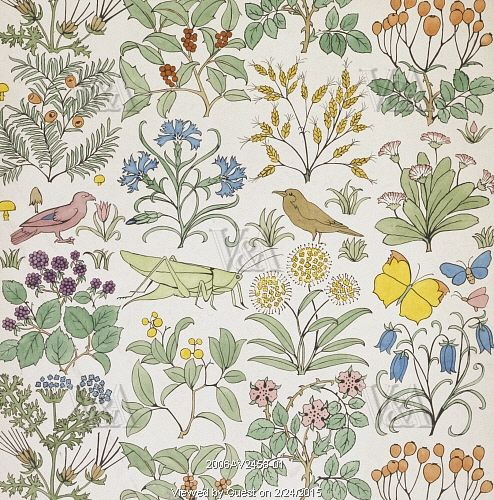 Birds & Insects textile design, by C.F.A.Voysey. England, early 20th century