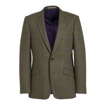Magee have been specialising in jackets for over 140 years. The Dillon is a tailored fitting jacket. The fabric is a rich green tweed with a subtle purple and blue check. Features include slant pockets, contrasting two-tone under-collar and side vents.