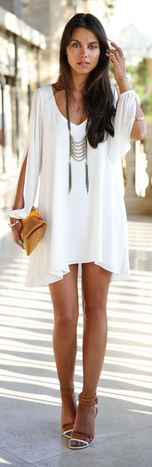Street Style: White dress with a touch of Boho chic, What more could you want? Shop White Heat at Fuse Fashion Network.