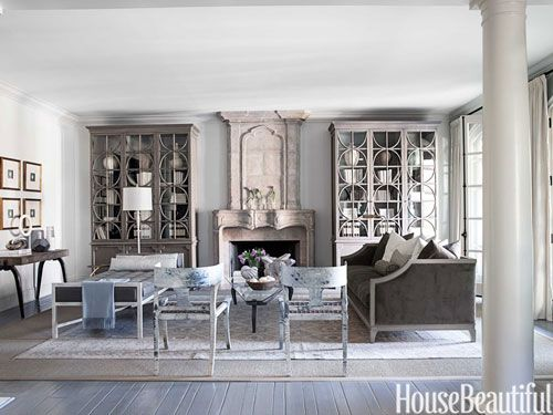 In the living room of a Los Angeles home, designer Mary McDonald employed hints of color against a neutral backdrop for a quietly refined mood.
