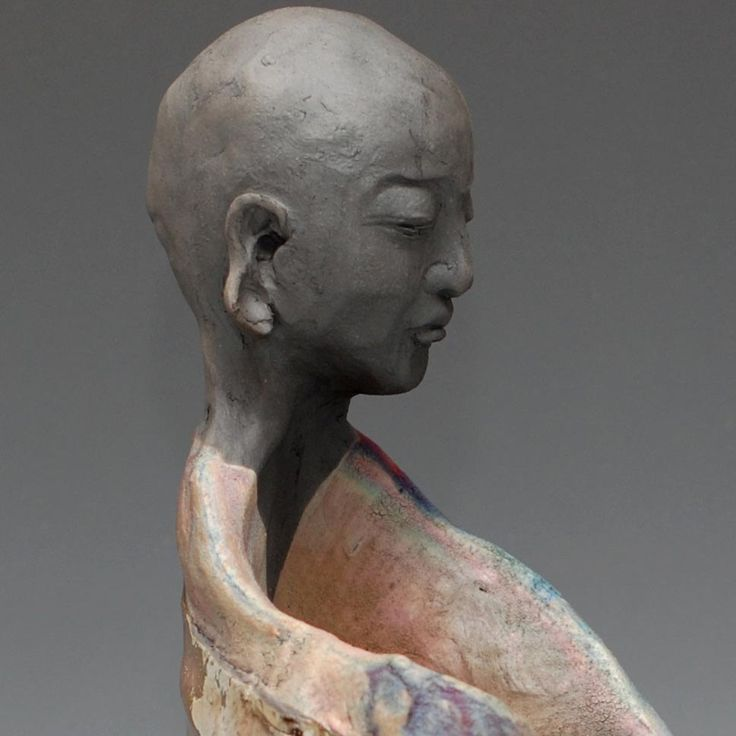 Standing Buddha Figurative Sculpture in Raku Ceramics Vase Wabi Sabi style by Anita Feng by GoldenWindRaku on Etsy