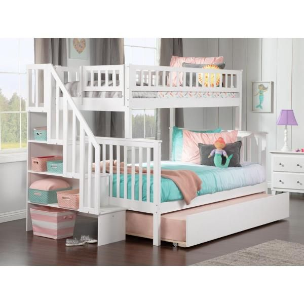 Atlantic Furniture Woodland Staircase Bunk Bed Twin Over Full With Twin Size Urban Trundle Bed In White Ab56752 The Home Depot Bunk Bed With Trundle Staircase Bunk Bed Full Bunk Beds