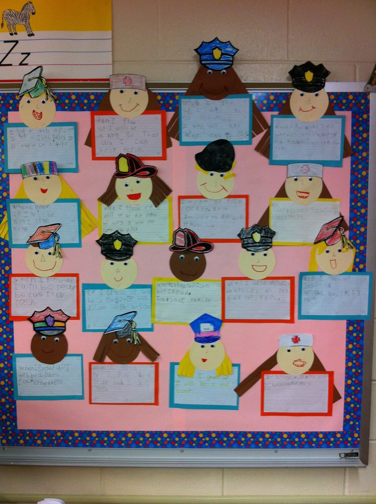 As a final project to wrap up our community helpers unit I decided to allow the students to pick which community helper they would like to be and why. I told them that their work would go on our bu...