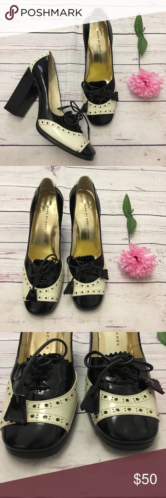 """Marc By Marc Jacobs black white lace heels sz 36 EUC no stains on patent leather, small cuffin on right shoe(last pic)lace pumps with block heel, size 36 heel size 4"""" Marc By Marc Jacobs Shoes Heels"""