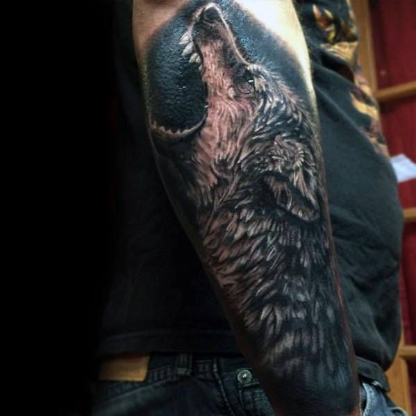 Wolf Howling Tattoo By Pit Fun Howling Wolf Tattoo Wolf Tattoos Animal Tattoos