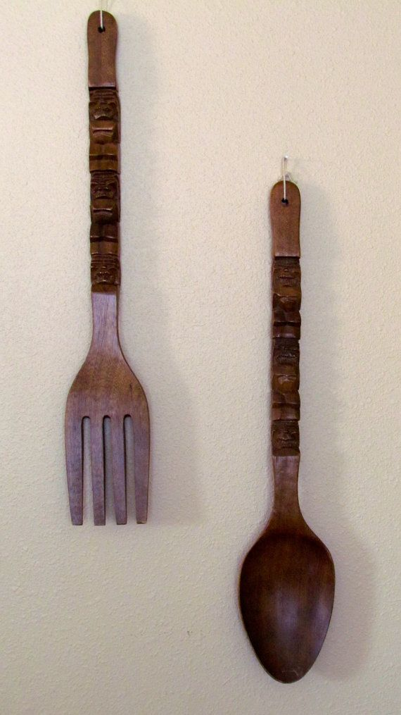 large wood fork spoon tiki wall decor decor etsy and woods. Black Bedroom Furniture Sets. Home Design Ideas