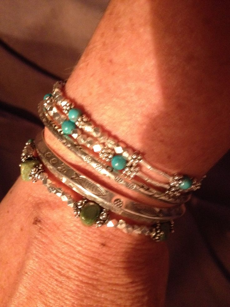 Turquoise and silver bead bracelets. With 2 cuffs I bought