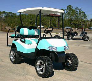 "EZGO Golf Cart 48 Volt RXV Aqua and White 2 Tone Seats 6"" Lift Used Batteries | eBay"