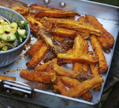 Coat chunky pieces of sweet potato with cornmeal or polenta and paprika for a smoky, crispy side dish